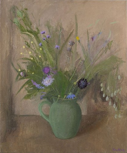 Haidee Becker - Jug, Two Scabia and Summer Flowers, 2016