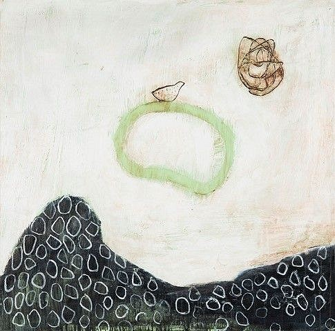 Exhibition: Connie Lloveras, Work: Bird on Green Ferny Rocks and Scribble, 2016