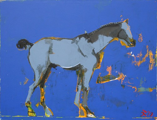 Exhibition: Serhiy Hai - New Paintings, Work: Horse on Blue, 2019