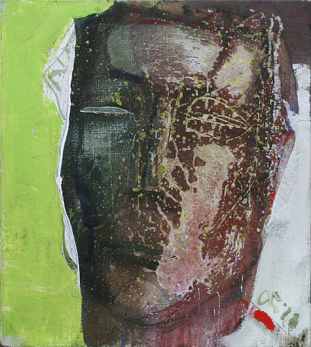 Serhiy Hai<br/> <i>Large Portrait in Rust And Green</i>, 2018