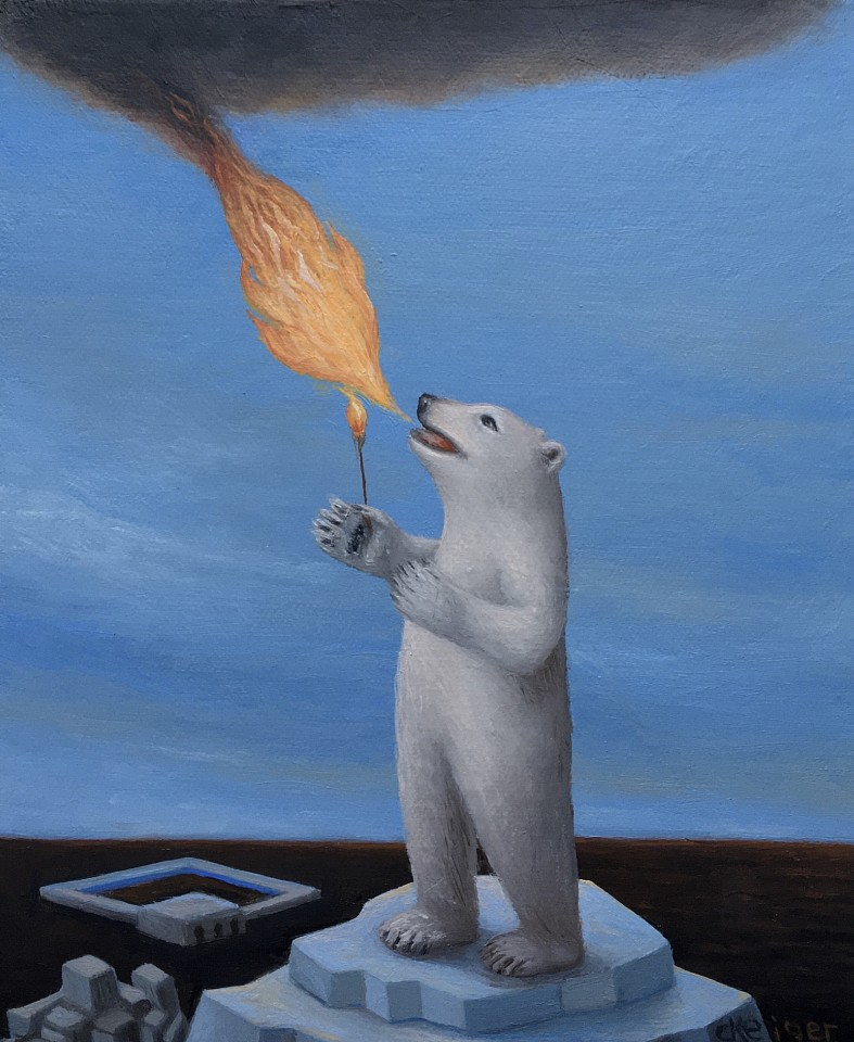 Charles Keiger ,   Fire Eater  ,  2019     oil on canvas ,  8 x 7 in. (20.3 x 16.5 cm)     CK 659     $2,200