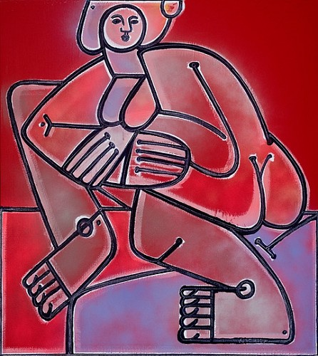 Exhibition: America Martin Solo-Show, Work: Woman in Violet and Red, 2020