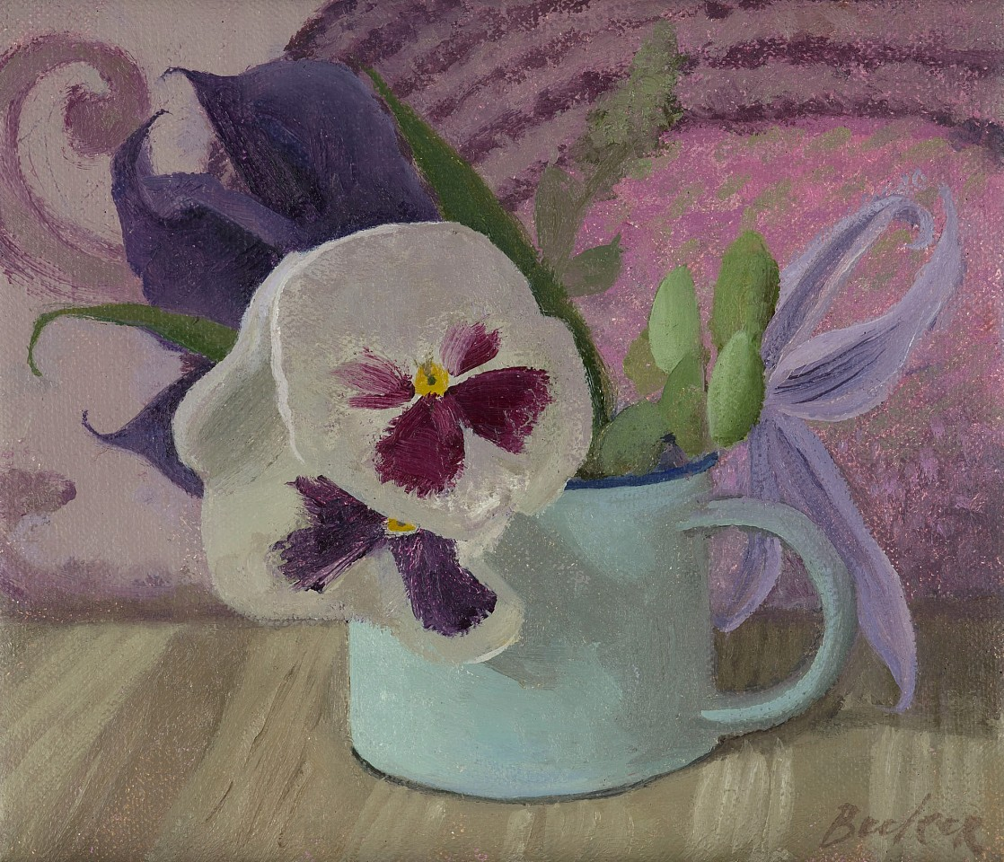 Haidee Becker ,   Two Pansies, Two Clematis  ,  2019     oil on canvas ,  6 x 7 in. (15.2 x 17.8 cm)     HB 426     Sold