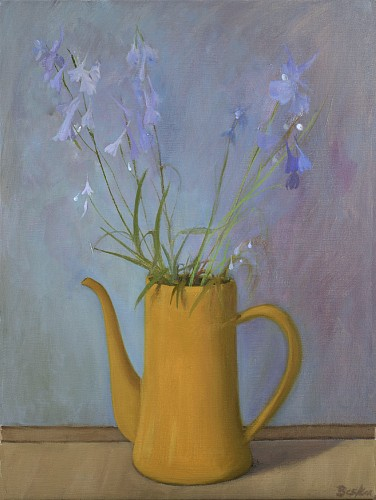 Haidee Becker - Ochre Coffee Pot With Blue Delphinium, 2019