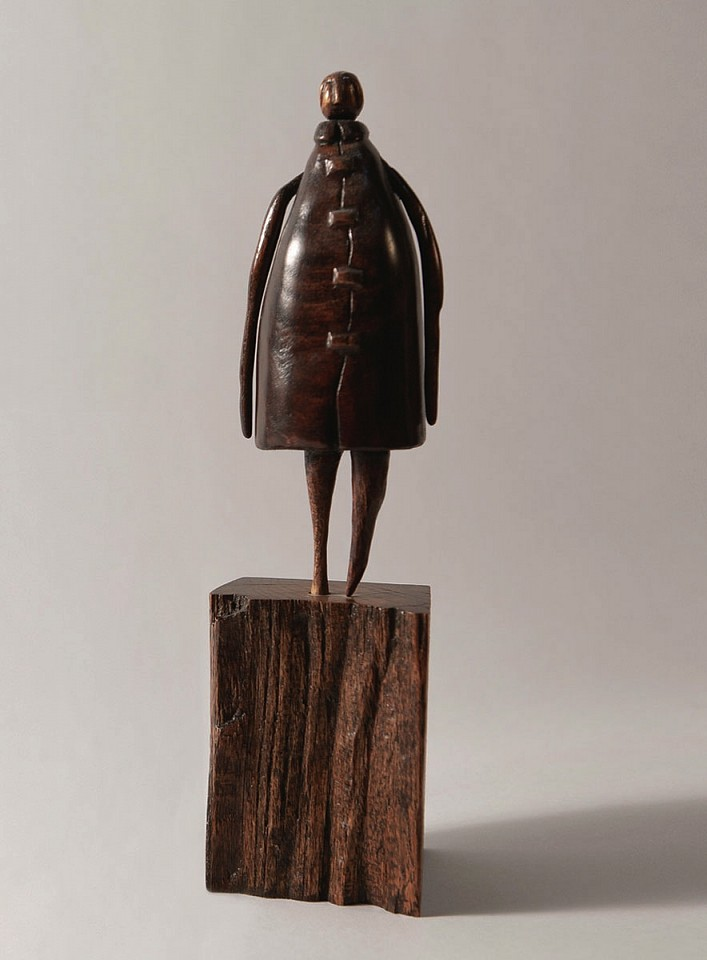 Walt Groover ,   The Coat  ,  2018     Sculpture Body is Cherry Wood/ Base/Oak ,  11 x 3 x 3 in. (27.9 x 7.6 x 7.6 cm)     Sculpture Body is Cherry Wood/ Base/Oak     WG 10     $3,200