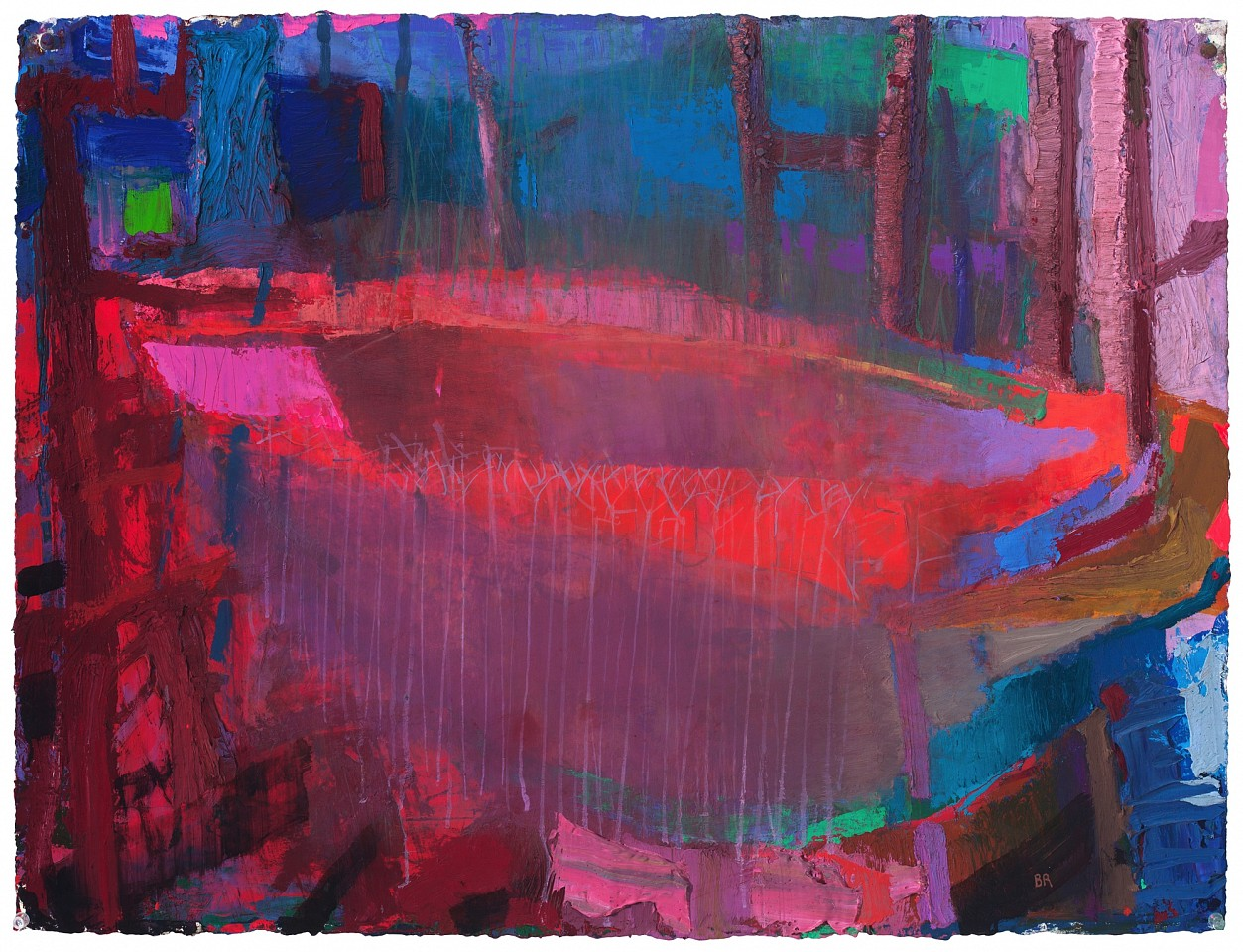 Brian Rutenberg ,   Under the Pines 2  ,  2020     oil on paper ,  22.5